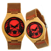 Fashion Couple Quartz Watch Leather Skull Bracelet Wristwatch Bamboo Case Women Men Creative Casual Wrist Watches
