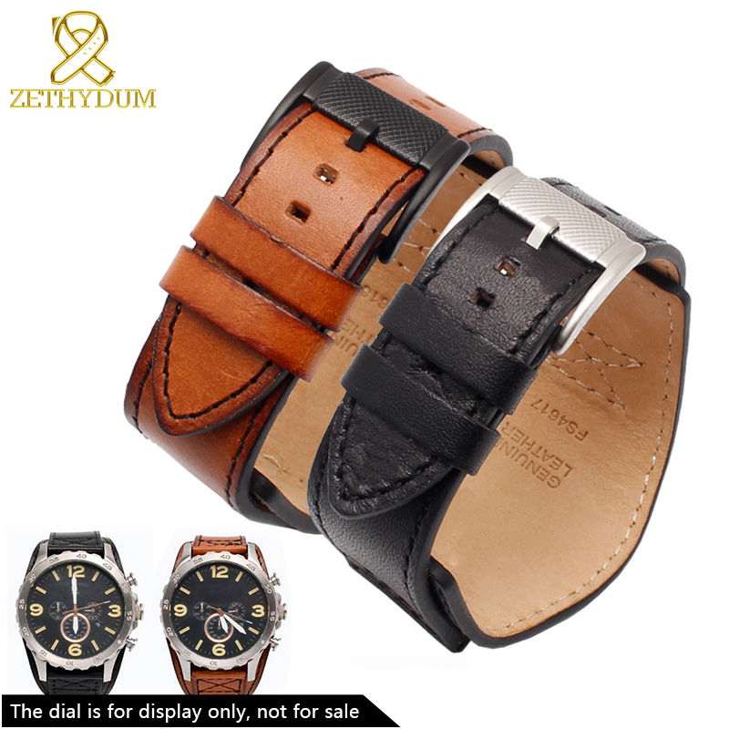 Genuine leather bracelet mans high grade watchband 22mm 24mm for Fossil watch band with mat handmade leather watch strap