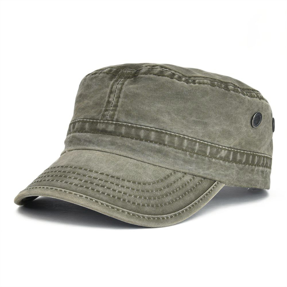 b939ec524 VOBOOM Summer Autumn Military Cap Men Women Washed Cotton Flat Top ...