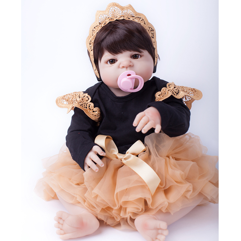 55cm Full Silicone Reborn Baby Doll Toy 22inch Newborn Princess Babies Alive Doll With Pacifier Girl Bonecas Christmas Gift 55cm full silicone reborn baby doll toy real touch newborn princess toddler babies alive bebe doll with pacifier girl bonecas