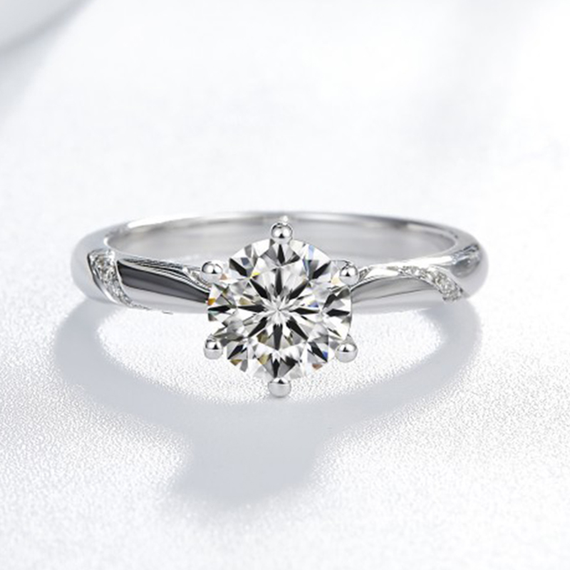 9K White Gold 1ct 2ct 3ct Round Brilliant Cut Moissanite Ring Diamond ring jewelry Engagement Ring Anniversary Ring in Rings from Jewelry Accessories