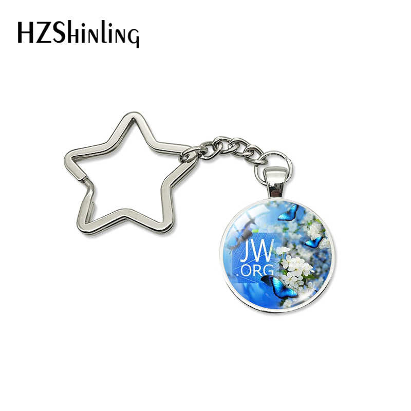 New Arrival Flower JW.ORG Glass Cabochon Star Key Chain Jehovah Patterns Women Men Christian Gifts Jewelry Keyrings