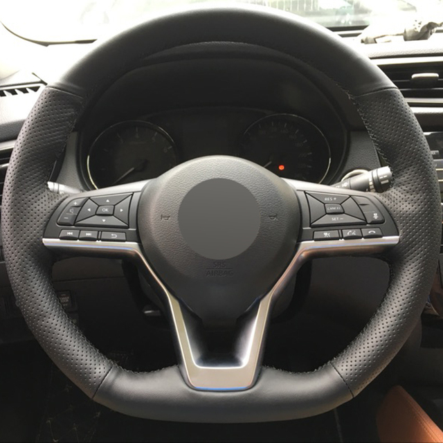 Nissan Rogue Select >> Black Leather DIY Hand stitched Car Steering Wheel Cover ...