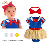 Baby Girl Clothes Summer Short Sleeves Snow White Bodysuit Headwear 2pcs Set Playsuit Toddler Infant Jumpsuit