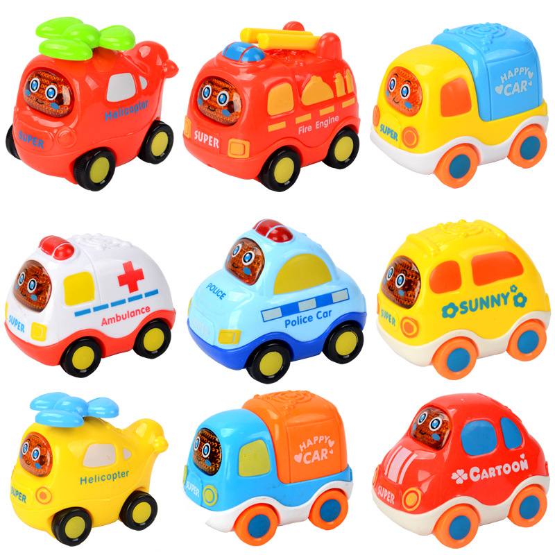 1PCS Kawaii Cartoon Pull Back Car Inertia Car With Signs Resistance To Fall Vehicle Baby Educational Toys Gifts Hot Sale