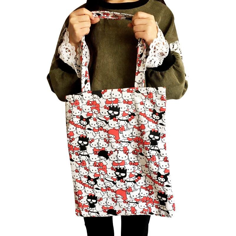 2018 Für Hallo Kitty Umwelt Für Schutz Einkaufs Taschen Frauen Handtaschen Leinwand Tote Bücher Lagerung Paket Schulter