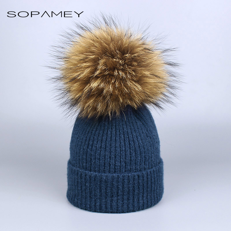 2017 Natural Raccoon Fur Pompon Hat Thick Winter for Women Cap Beanie Hats Knitted Cashmere Wool Caps Female skullies beanies