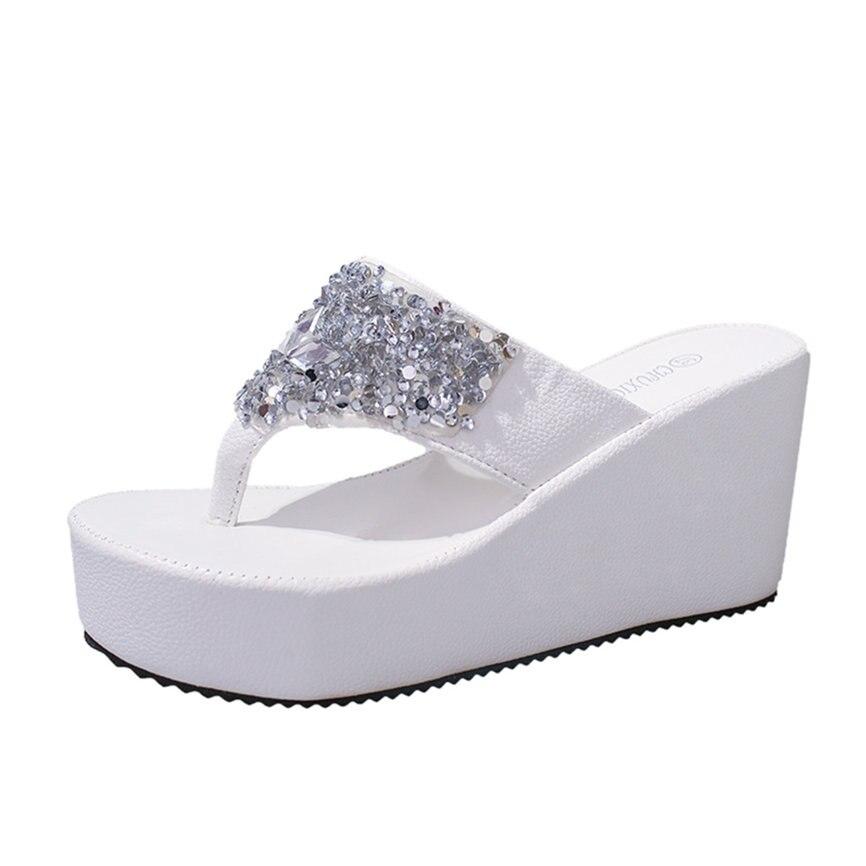 HTB1os3iamSD3KVjSZFKq6z10VXaU Women Sandals Summer Shoes Women's Slippers Rhinestone Wedges Flip Flops Fashion Clip Toe Beach Shoe For Women M23#30