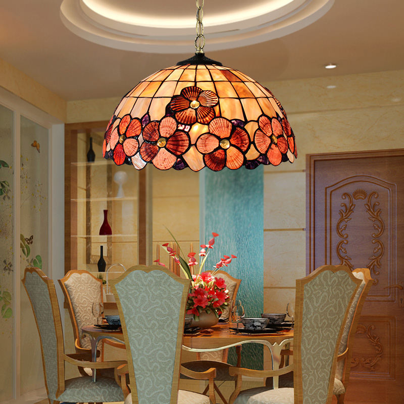 European style Tiffany garden Mediterranean shell pendant light bedroom restaurant entrance porch hanging lightEuropean style Tiffany garden Mediterranean shell pendant light bedroom restaurant entrance porch hanging light