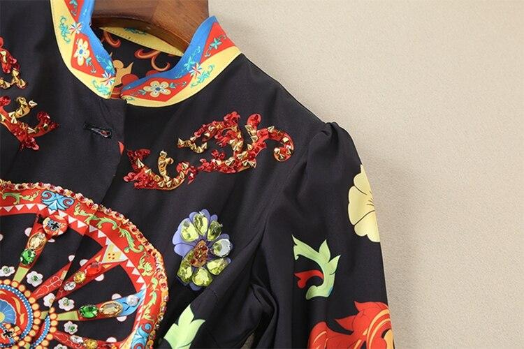Youe D'impression Qualité Manches D'été Designer Nouveau Dame Étage De Multi Brillait Robe 2018 Femmes Piste Haute Support Col Moitié Maxi OiPkXZu