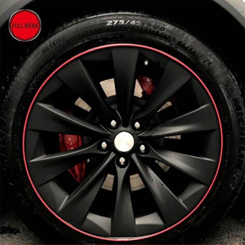 Car Wheel Hub Tire Sticker Decal Decorative Wheel Strip Rim Protection Care Covers Defense For Tesla Model S Model X Accessories