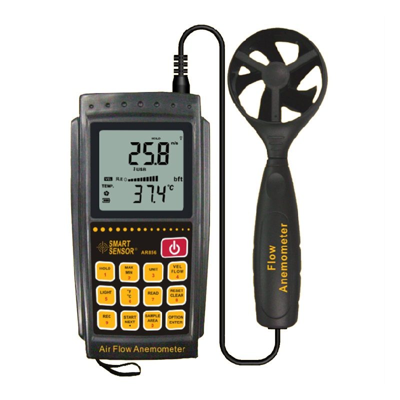 SMART SENSOR AR856 Anemometer Air Flow Tester Anemometer Wind Speed Gauge Portable Speed Measuring Instruments 0-45m/s free shipping gm8901 45m s 88mph lcd digital hand held wind speed gauge meter measure anemometer thermometer
