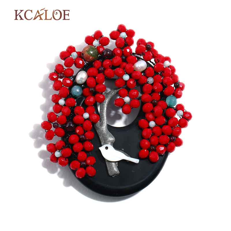 KCALOE Broches Vintage Black Natural Onyx Stone Brooches For Women Handmade Red Crystal Beads Tree Brooch Pins Jewellery Gifts все цены