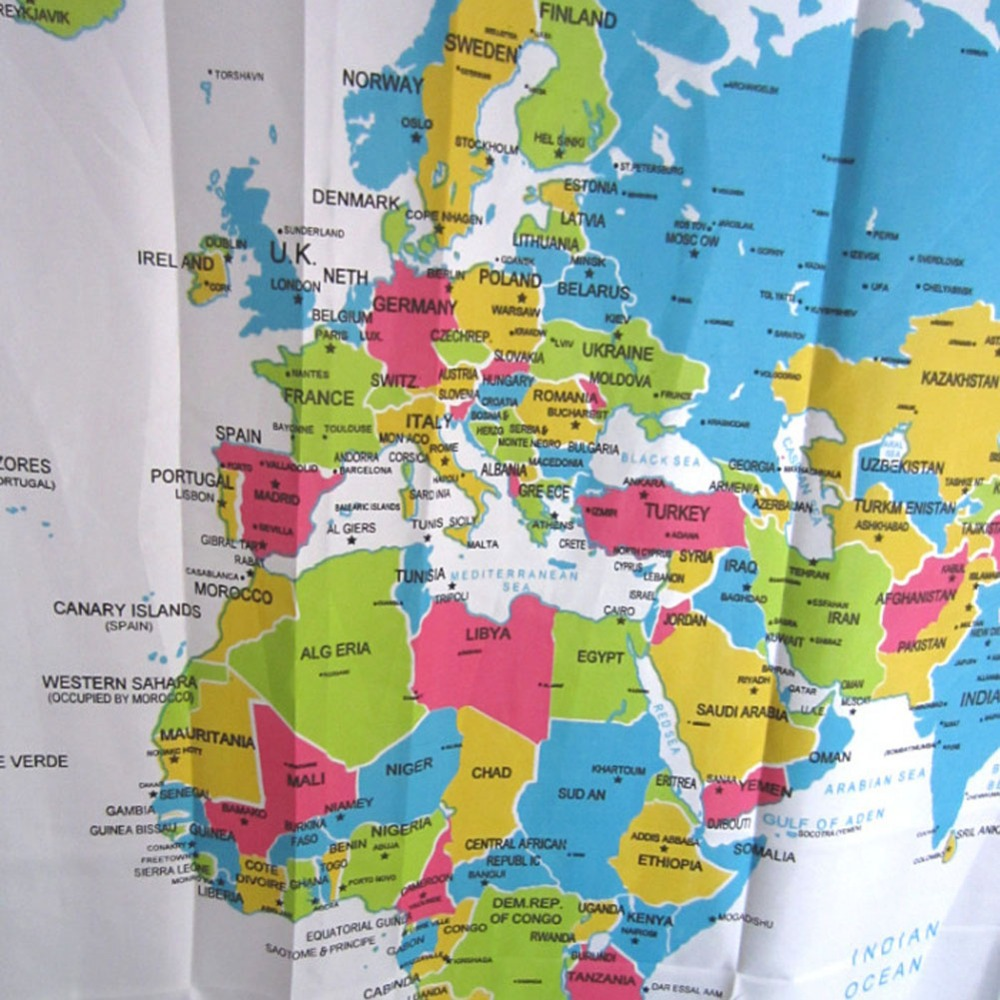 New creative stylish world map bath shower curtain europe style new creative stylish world map bath shower curtain europe style polyester fabric curtains with white plastic c type hook in shower curtains from home gumiabroncs Image collections