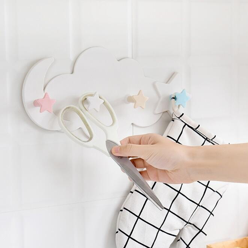 Cloud Star Moon Wall Door Hook Bathroom Bedroom Hanger Holder Decor Home U1U4
