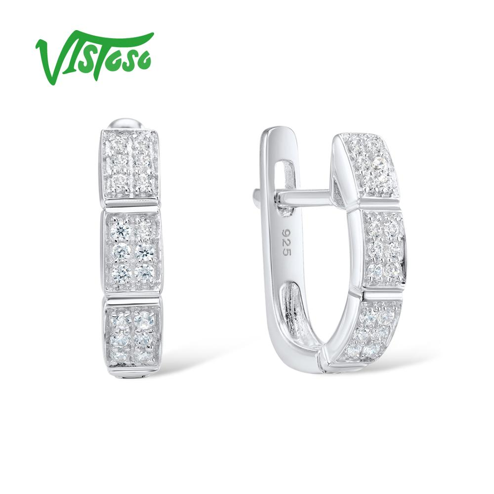 VISTOSO Fine Jewelry Stud Earrings Silver 925 With Stone Round White Cubic Zircon High Quality Fine Stud Earrings 2018 For Women pair of stylish rhinestone triangle stud earrings for women