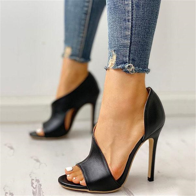 Ladies Summer Shoes Woman Fashion Casual Open Toe Super Thin High Heels Fish Head Breathable Pu Leather Women Shoes