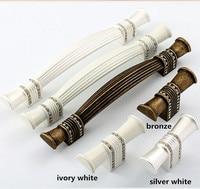 128mm 160mm 192mm 224mm Modern Fashion Rhinestone Furniture Handles Ivory White Bronze Silver White Wardrobe Dresser