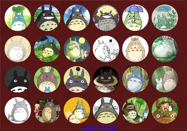 Aliexpress com : Buy 24Pcs Round 18mm Cabochon Mix Cartoon Totoro SpongeBob  Image Glass Cabochons XL10713 from Reliable glass cabochon suppliers on