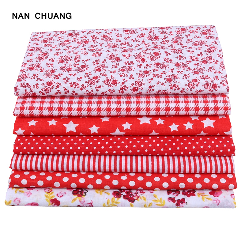 Nanchuang Red Thin Cotton Fabric Patchwork For Sewing Scrapbook Cloth Tissue For Quilt Needlework Pattern 25x25m 7Pcs/Lot