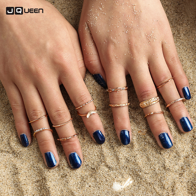 2017 Fashion Vintage Carving Ring Sets Gold-color Punk Knuckle Rings For Women Anillos M ...