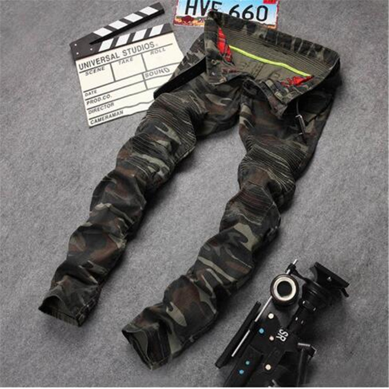 AILOOGE 2016 New Mens Camouflage Jeans Motocycle Camo Military Slim Fit Famous Designer Biker Jeans With Zippers Men HZ450