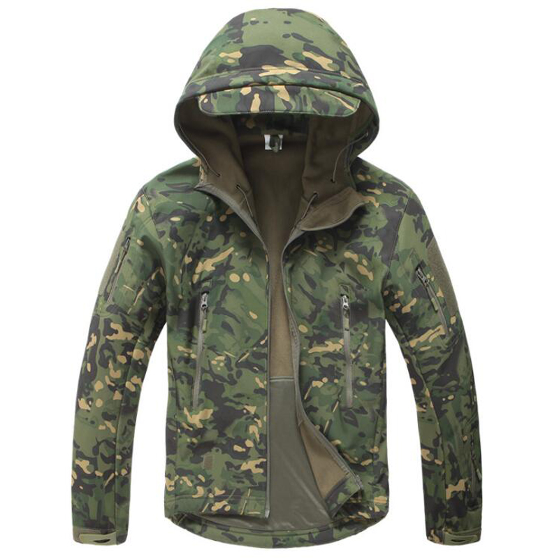 Tactical Jacket Men Military Camouflage Shark Skin Soft Shell Waterproof Hooded Jackets Outdoor Camo Fleece Warm Raincoat Coats-in Jackets from Men's Clothing