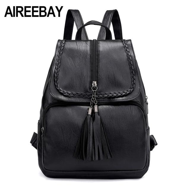 AIREEBAY 2018 Summer Fashion Solid Women Backpack Tassel Teenage Girl Bag  Korean Backpacks PU Leather Female Shoulder Bags 1baf1e8beeb1f