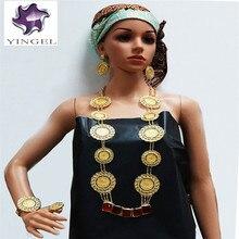 Yeni varış altın renk büyük taş takı setleri güzel düğün takısı setleri afrika kadınlar büyük kolye