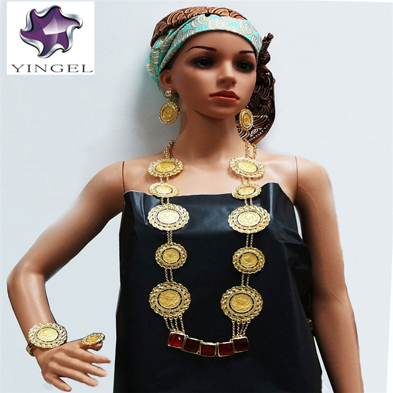 new arrival gold colour big stone jewelry sets fine wedding  jewelry sets african women big necklace