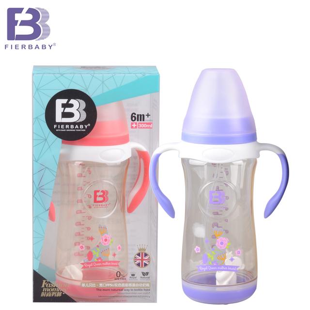 Fierbaby bebê chegam novas feitos para o bebê de boca Larga garrafa PPSU 300 ml base dupla cor sensor de temperatura automático