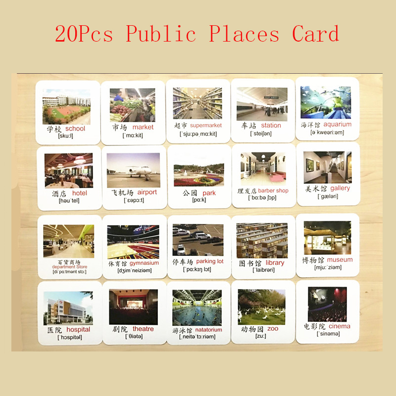 Learn Public Places English Phonics Flash Cards Kids Montessori Learning Educational Toys For Children Teaching Aids Baby Card