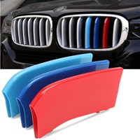 Car 3 Color Grill Grille Trim Stripes Clips Cover ABS For BMW X6 F16 2015-16