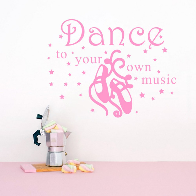 DIY Vinyl Wall Decals Quote Dance To Your Own Music Girl Dancer Home  Interior Design Ballerina