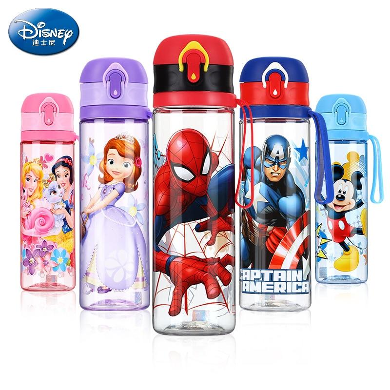 570ml Disney Kids Boys Girls Cups Drink Directly Baby Feeding Bottle Minnie Mickey Mouse Tritan Cup My Sport Water Bottles