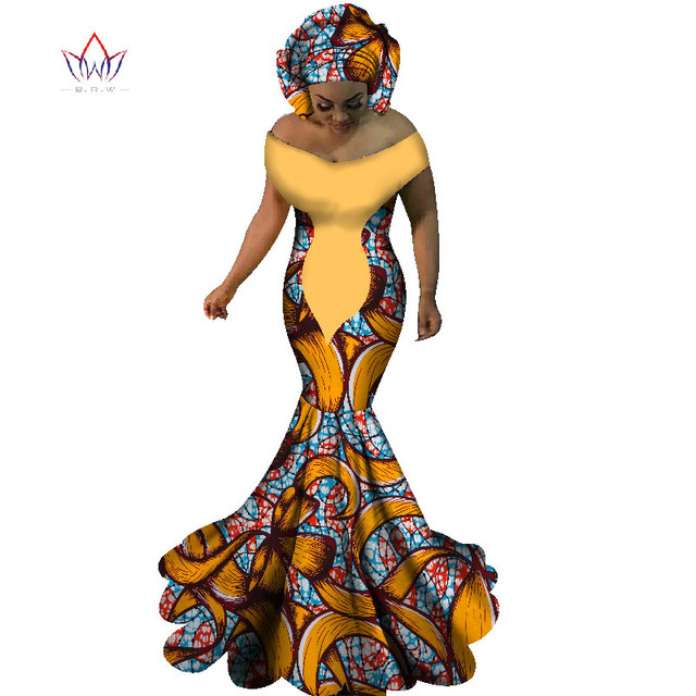 2017 BRW African Dresses for Women Sexy Slash Neck Long Dresses Bazin Riche African Print Mermaid Clothing Plus Size 6XL WY1860