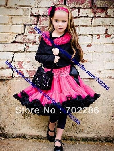Wholesale girl dancing skirt petti skirt children dancing clothing toddler girl party skirts hot pink black