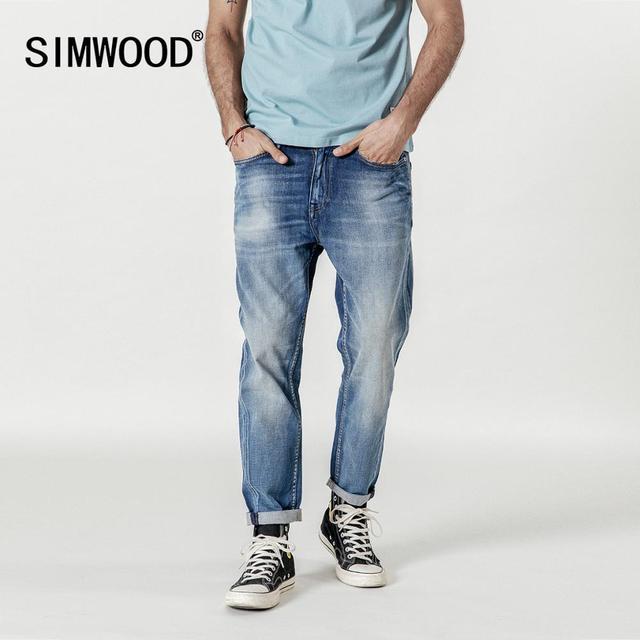 SIMWOOD 새로운 2020 청바지 남성 패션 데님 발목 길이 Modis 바지 슬림 플러스 사이즈 바지 브랜드 의류 Streetwear 청바지 190028