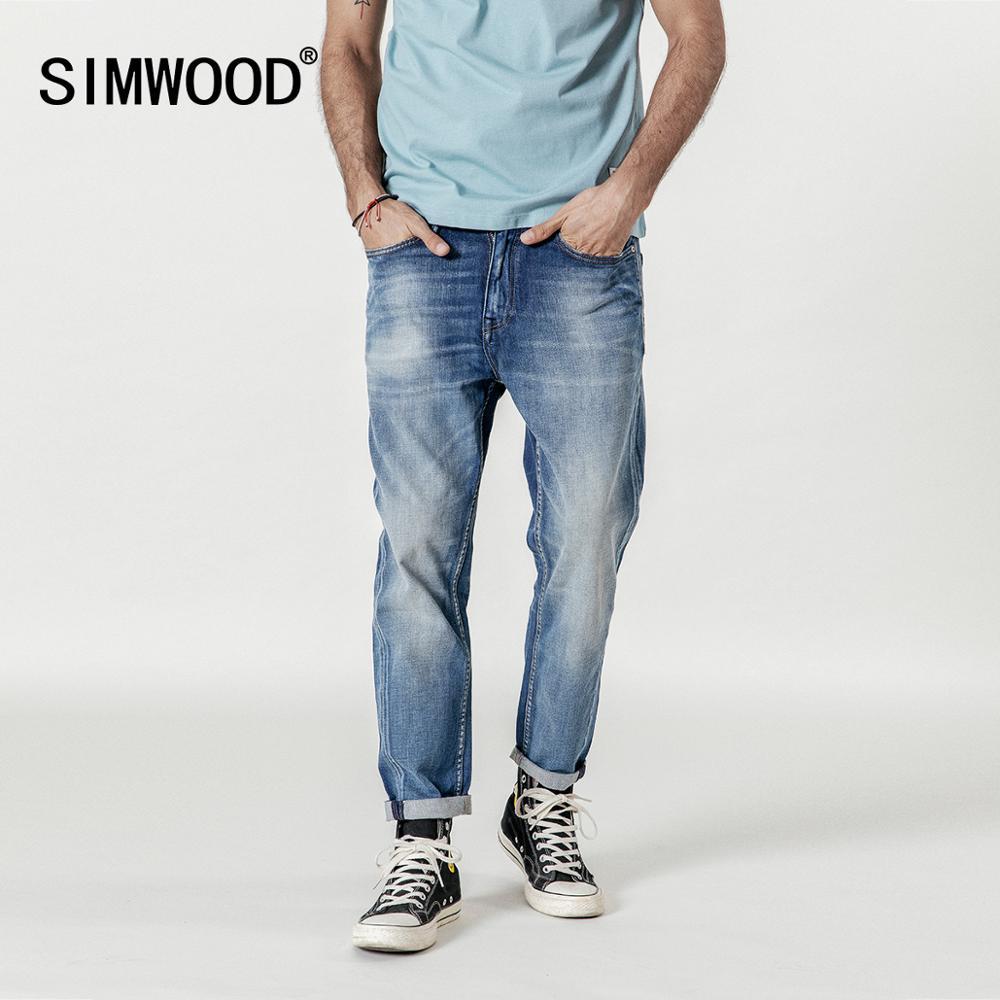 SIMWOOD New 2020 Jeans Men Fashion Denim Ankle-Length Modis Pants Slim Plus Size Trousers Brand Clothing Streetwear Jeans 190028