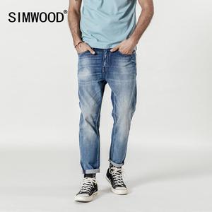 Image 1 - SIMWOOD nouveau 2020 jean hommes mode Denim cheville longueur Modis pantalon mince grande taille pantalon marque vêtements Streetwear jean 190028