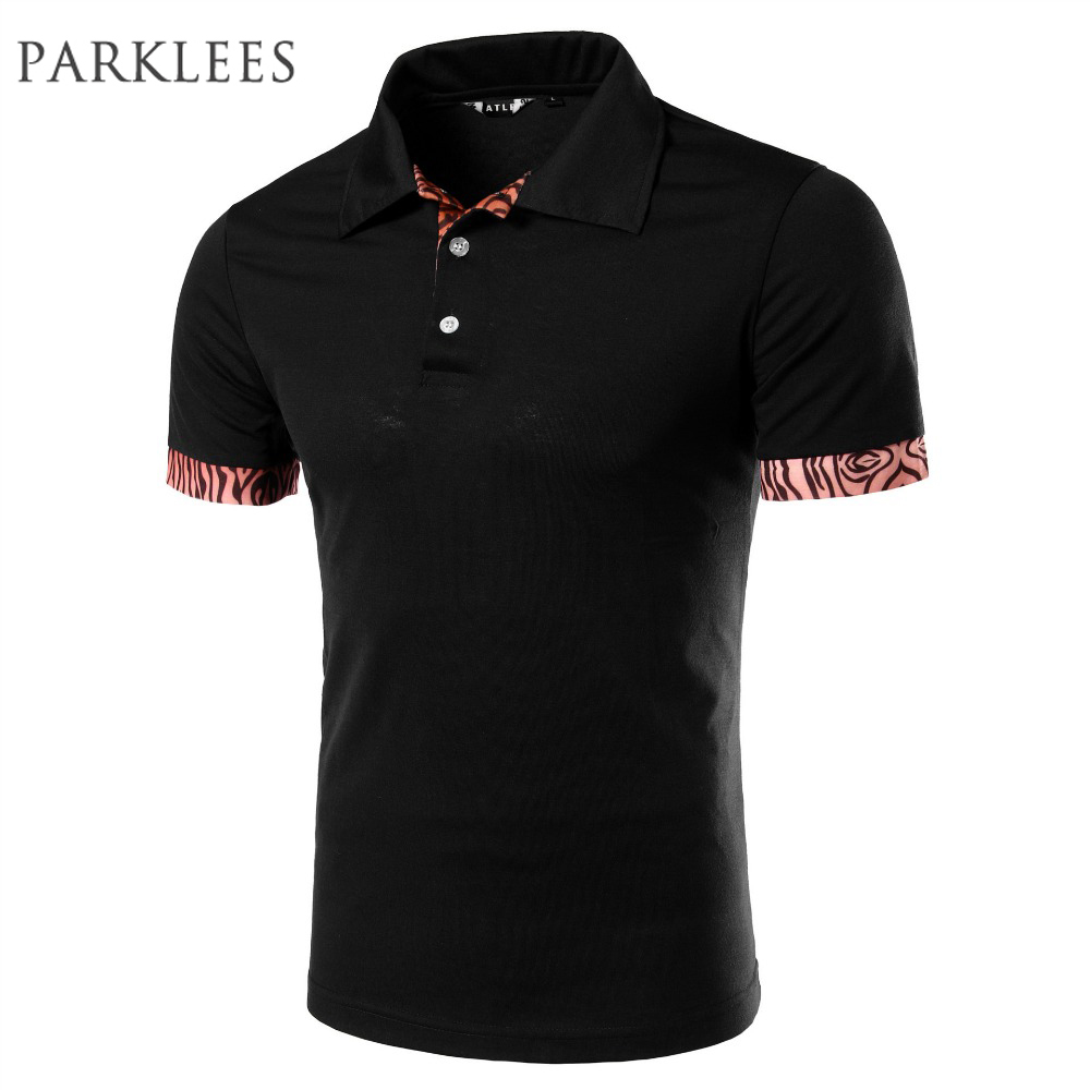 Brand   Polo   Shirt Men 2016 Summer Leopard Short Sleeve Black   Polo   Shirts Casual Brand Cotton   Polos   Slim Fit   Polo   Homme Marque