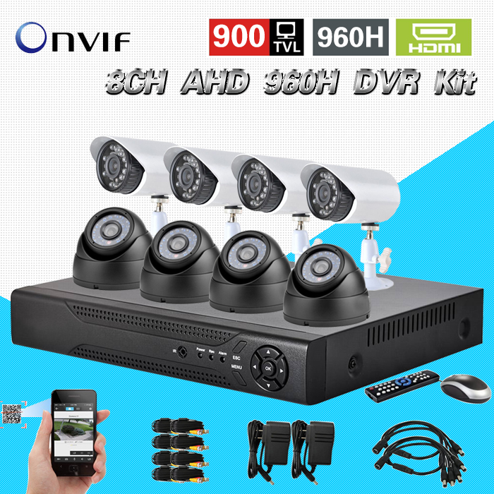 TEATE AHD 960H 8Ch 900TVL CCTV video surveillance system onvif NVR DVR recorder Kit 8ch Home Security camera surveillance CK-159 cnhidee home security camera system nightvision ahd 8ch 720p ir 1200tvl dvr hd kit video surveillance system 8ch outdoor kit set