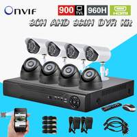 HD AHD 960H 8Ch 900TVL CCTV Video Surveillance System Onvif NVR DVR Recorder Kit 8 Ch