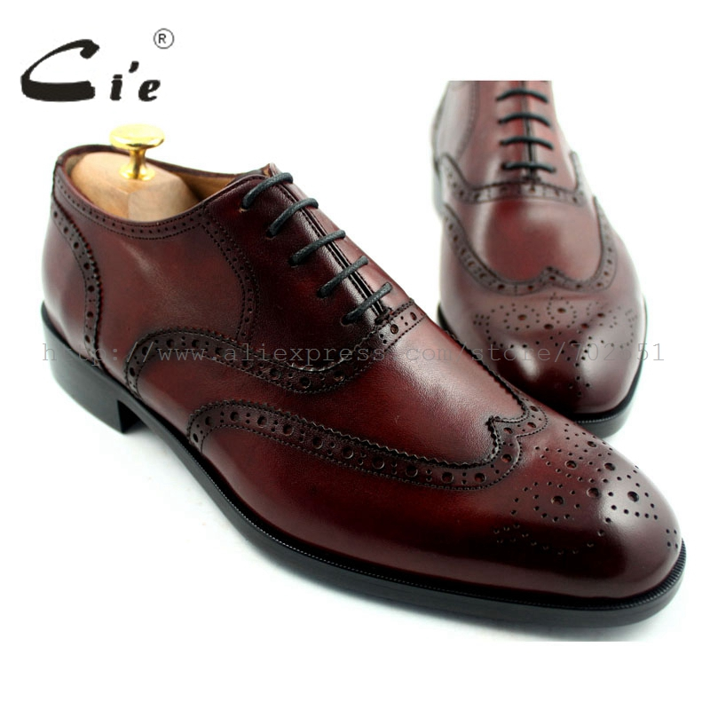 cie Free Shipping Round Toe Full Brogues Bespoke Handmade Genuine Calf Leather Men's Oxford Lacing Shoe Color Red Brown OX192 cie free shipping handmade tassels round toe full brogues slip on loafer calf leather men shoe leather bottom breathableloafer79