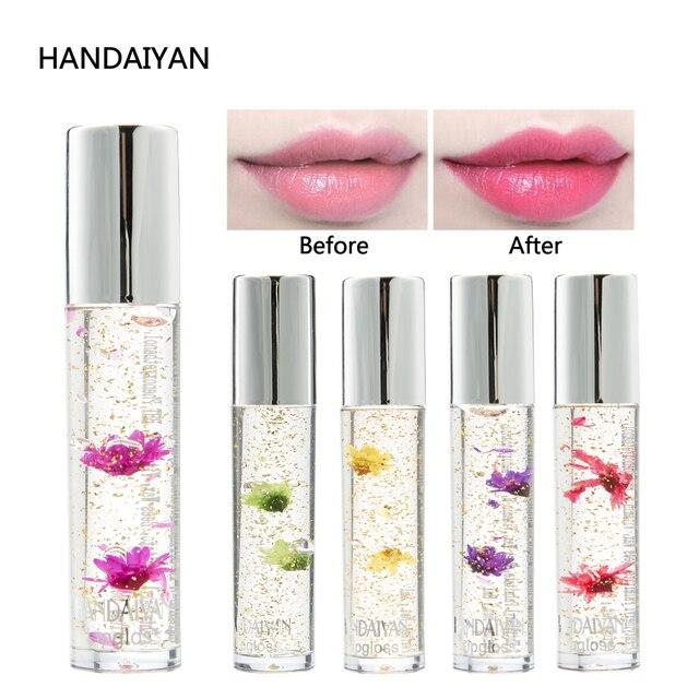 HANDAIYAN brillo de labios 5 colores lámina de oro flor cambio de temperatura Color hidratante transparente brillo de labios resistente al agua maquillaje