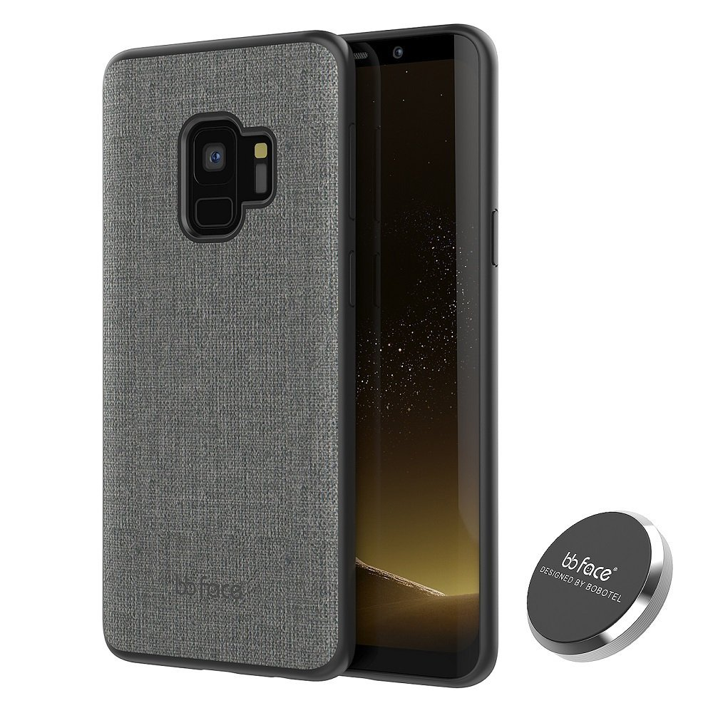 Fabric Like Pattern Protective Phone Cover TPU Bumper Back Hard Case With Magnet In-car Holder For Samsung Galaxy S9/S9 Plus