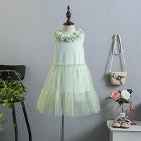 5205 Flower Petal Collar 2pcs Girls Dress A Line Sundress Tutu Kids Dresses For Girls Summer