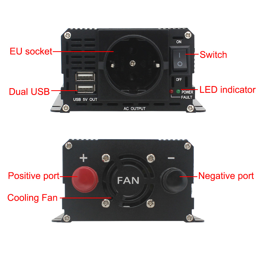 cheapest DC12V to AC 230V 1000W car outing EU socket powerInverter Portable Car Power USB Charger Converter Vehicle Power Supply inverter