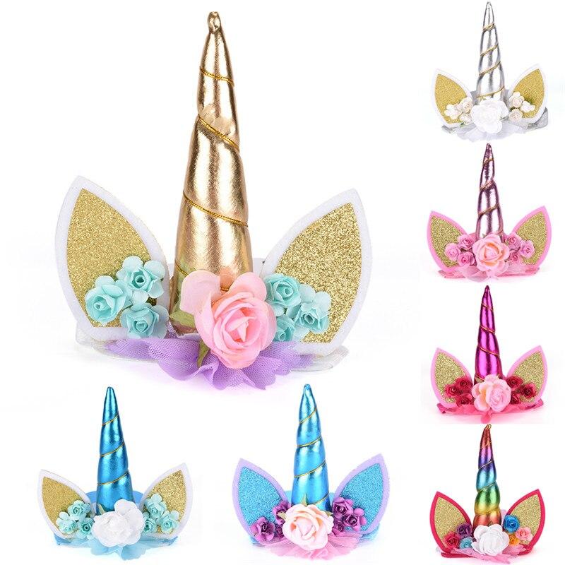 Bandeau accessoires paillettes métalliques or/argent | 1 pièce, bandeau corne licorne avec fleurs en mousseline de soie, cheveux, cerceau fête pour enfants