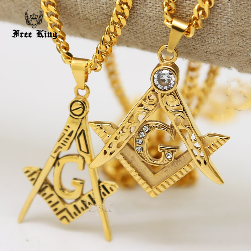 Mens Stainless Steel Gold Free Mason G Compass Masonic Charm Pendant